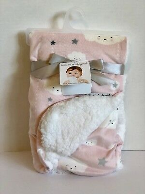 Blankets & Beyond Baby Blanket Clouds and Stars  Pink & White