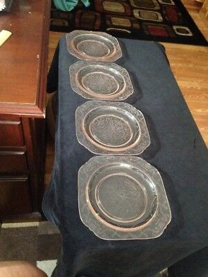 Lot Of 4 Depression Glass Dessert Plates In Peach Color And Design Etching