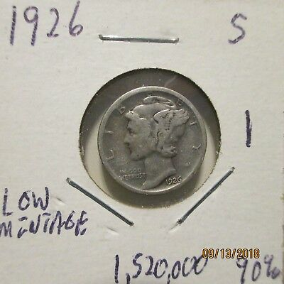 90% silver Mercury dime you grade 1926 S Low mintage 1,520,000     1