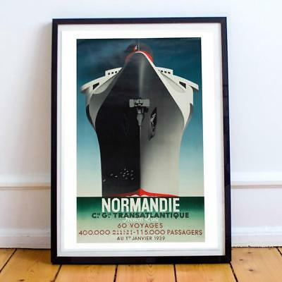 Cassandre Normandie 60 Voyages 20x34 INCHES VINTAGE TRAVEL POSTER