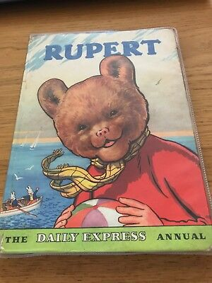 VINTAGE ORIGINAL 1959 RUPERT BEAR ANNUAL, UNCLIPPED 5/- writing on page 1 and 2