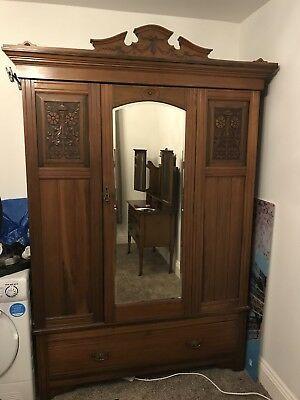 Mahogany Carved Antique Vintage Mirror Armoire Wardrobe Large Yorkshire