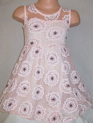 Girls Light Pink Floral Flower Blossom Print Princess Pageant Prom Party Dress