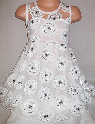 Girls White Lace Mesh Flower Blossom Print Princess Pageant Prom Party Dress