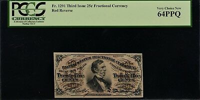 Fr. 1291 Third Issue 25c Fractional Currency PCGS VCN64 PPQ  Red Reverse