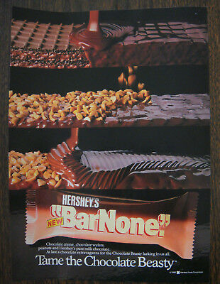 ORIGINAL 1987 Hershey's Bar None Candy Bar Ad Tame the Chocolate Beasty