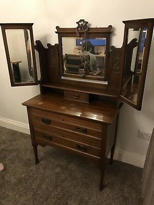 Antique Mahogany Carved Mirror Dressing Table With Drawers