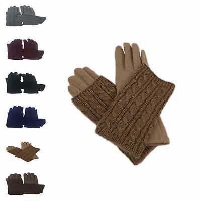 New Women Winter Knit 2 in 1 Gloves with Fingerless Mittens Fleece Thermal Lined