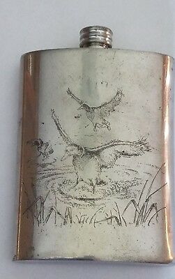 Vintage Comoy's of London Sheffield English Pewter 8 oz. Hip Flask Duck Scene
