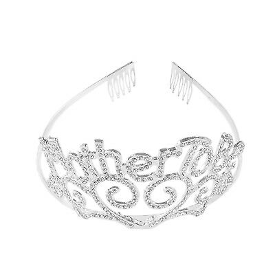 Metal Mother To Be Silver Tiara Hearts Crown with Sparkling Rhinestones for B...