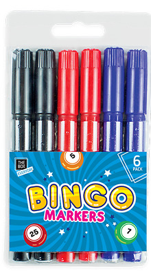6 x Bingo Markers Dabbers Pens Coloured Set Red Blue Green