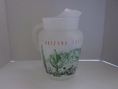 Vintage 1950's Blakely Oil an Gas Arizona Cacti Cactus Pitcher Frosted Glass.
