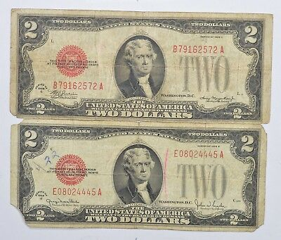 Lot (2) Red Seal $2.00 US 1928-G & C Notes - Currency Collection *260