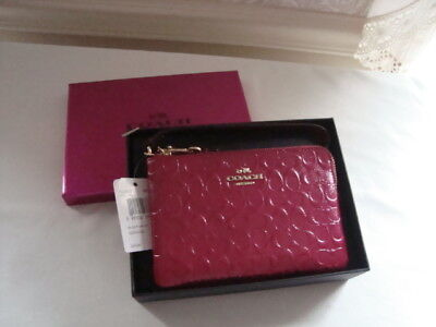 NWT Authentic Coach Cranberry Phone Wallet Wristlet Purse Gift Box F64652