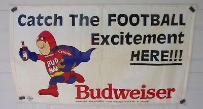 "Vintage Budweiser W/Bud Man Banner ""Catch The Football Excitement Here"" RARE"