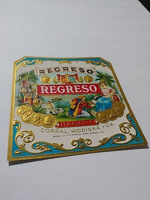Regreso Cigar box outer label - mint condition - gold embossed - vintage HABANA