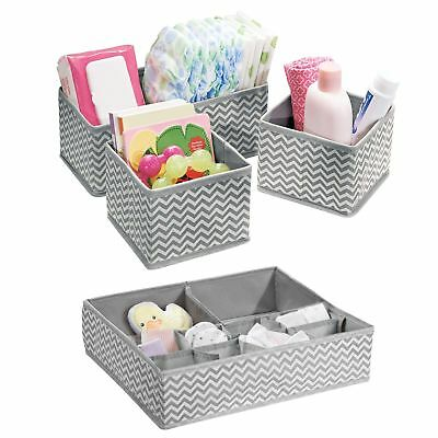 mDesign Chevron Fabric Baby Nursery Closet Organizers for Clothing, Diapers, ...