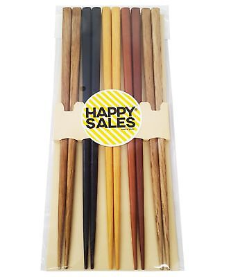 Happy Sales HSCH22/S, 5 Pairs Multi Color Design Japanese Bamboo Chopsticks G...