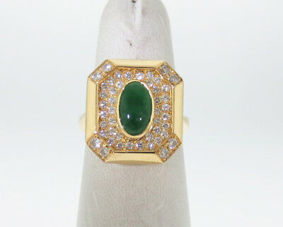 GIA Certified Natural Grade A Jadeite Jade Diamonds Solid 18k Yellow Gold Ring
