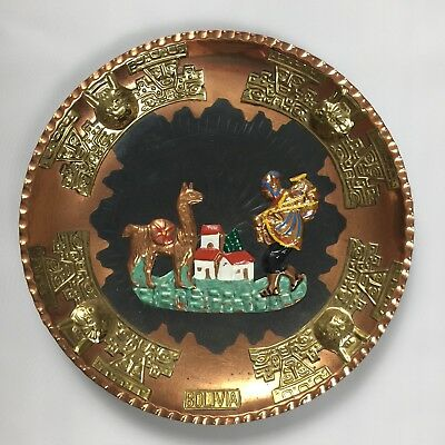 Decorative Bolivia Souvenir Plate Wall Hanging Copper Colored Llama Motif Inca