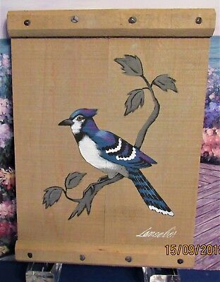 Vintage Hand Painted Fully Plumed Male Blue Jay On Cedar Board & Trim Signed