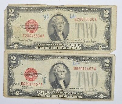 Lot (2) Red Seal $2.00 US 1928-F & G Notes - Currency Collection *259