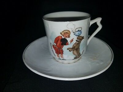 Antique Advertising Buster Brown With Mary Jane Having Tea Childs Porcelain Cup