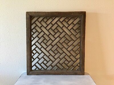 Antique Chinese Wooden Window Carved Asian Screen Wood Panel Art