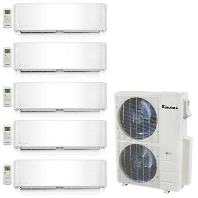 Klimaire 5-Zone 52K BTU 21 Seer 12k+12k+12k+12k+12k Wall AC Mini Split Heat Kits