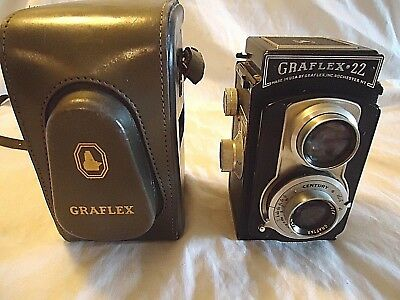 GRAFLEX 22 MODEL 200 TLR FILM CAMERA WITH GRAFTAR 85mm f 3.5 LENS LEATHER CASE