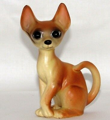 """Vintage Chihuahua Figurine Japan A583 Sitting 4"""" Fawn Color Brown Big Eyes"""