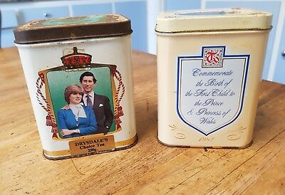 PRINCE CHARLES /LADY DIANNA marriage 1981& first child 1982 tea tins