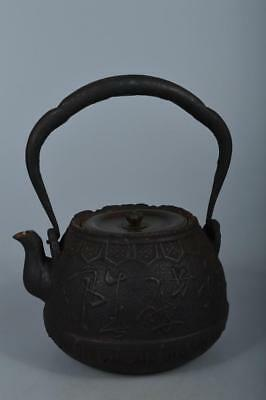 M5524: Japanese Iron TEA KETTLE Teapot Tetsubin w/copper lid, Ryugundo made