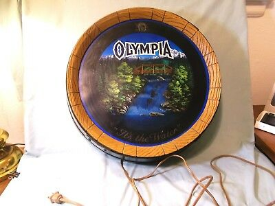 Vintage 1980's Olympia Beer Motion Waterfall Lighted Barrel Sign Bar Tavern