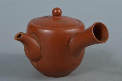 M6349: Japanese Old Tokoname-ware Brown pottery Poetry sculpture TEAPOT Sencha