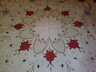 """High Quality Embroidered, Applique & Cutwork Madeira Linen Tablecloth 49"""""""