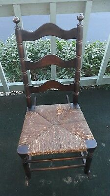 19th Century Shaker Colonial Child's ladderback Rocking Chair w/ rush Seat