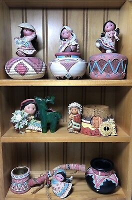 Lot Of 7 Enesco FRIENDS OF THE FEATHER Indian Figurines Trinket Boxes Peace Pipe