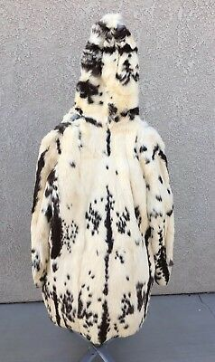 Vintage NATURAL Spotted RABBIT FUR Hooded COAT Jacket