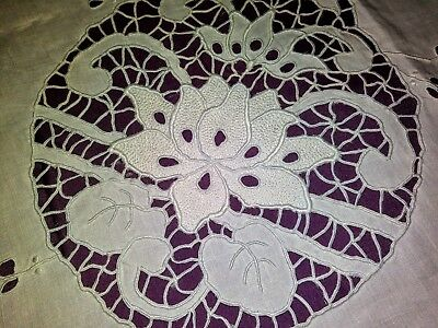 Gorgeous Fine White Linen Cutwork and Embroidered Madeira Tablecloth 51 by 50