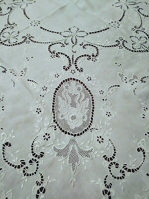 """Exquisite Embroidered &  Extensively Cutwork Madeira Linen Tablecloth 49"""" by 47"""""""