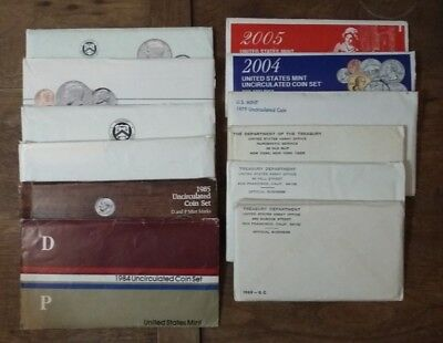 Lot of 10: 1969,71,72,79,84-89,2004 P, 2005 D US Mint Uncirculated Coin Set