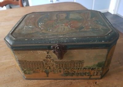KING EDWARD V111 hinged and latched lidded antique tin