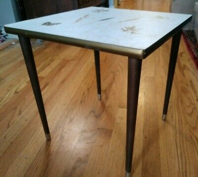Vintage Antique Mid Century Modern Side End Table Flower & Butterfly Inlay Rare!