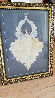 Angel of Peace Cross stitch hand art framed large blue gold *must see*