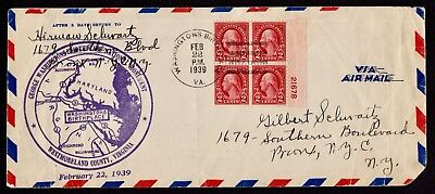 Usa 1939 22 Feb From Washington'S Birthplace Nat. Monument To Nyc  Fine Cover