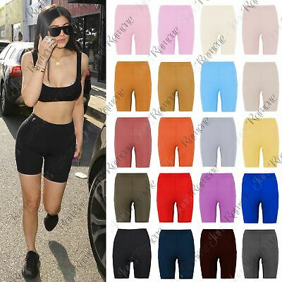New Womens Ribbed Stretchy Activewear Yoga Dance Gym Biker Cycling Shorts Pants