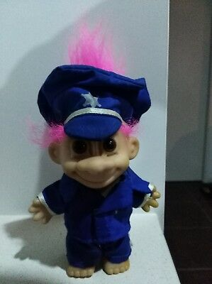 """Russ"" Trolls Doll Toy 1990s Collectable Police Officer"