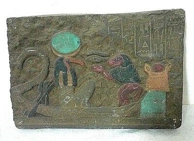 ANCIENT EGYPTIAN ANTIQUE HORUS EYE and SEKHMET With THOTH Stela 1758-1365 BC