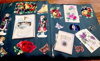 VICTORIAN SCRAP ALBUM/ GREETINGS CARDS, SCRAPS 60 Pages Father Christmas